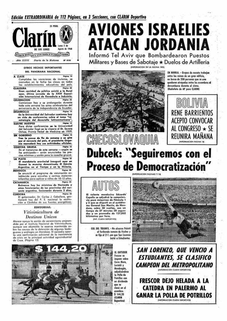 tapa del matutino clarin del 5 de agosto de 1968