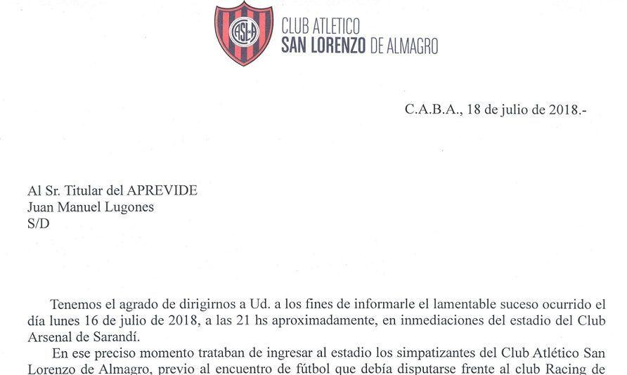Carta de San Lorenzo a la APREVIDE