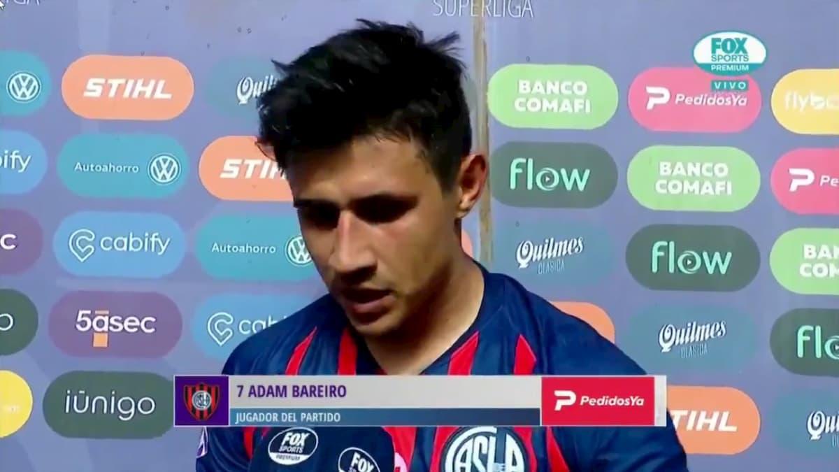 Adam Bareiro tras el partido ante Lanús