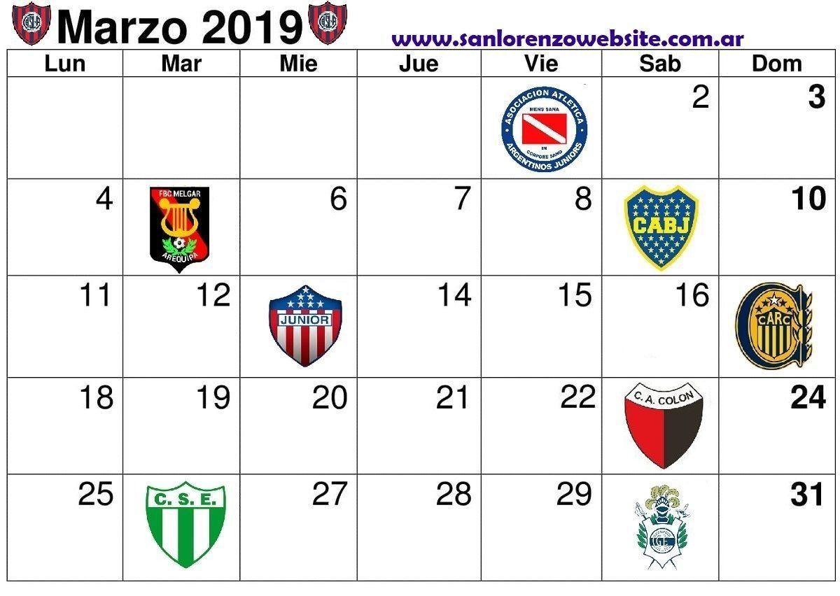 calendario marzo 2019 san lorenzo