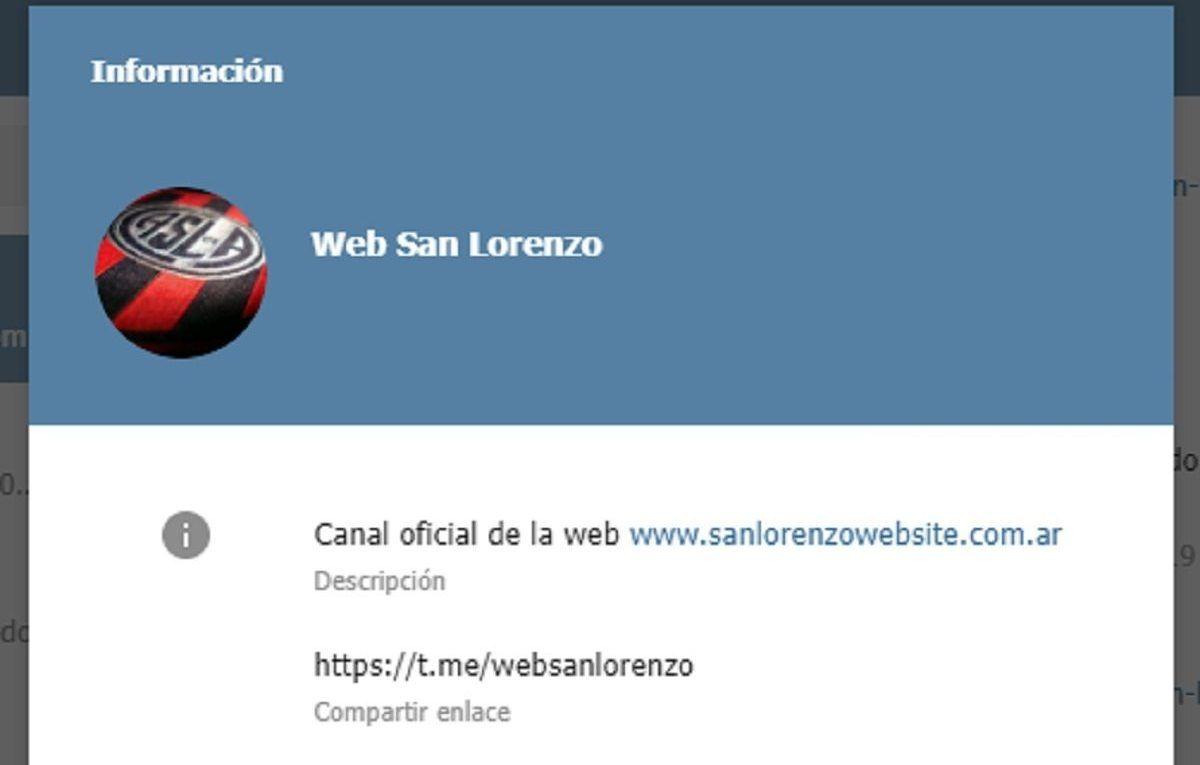 canal telegram san lorenzo