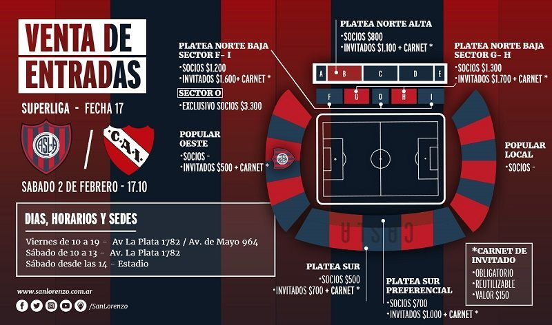 entradas ante independiente