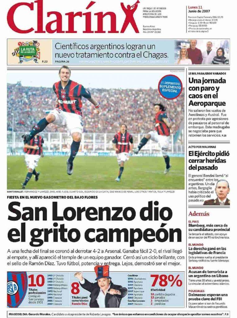 Tapa del diario Clarín San Lorenzo Campeón