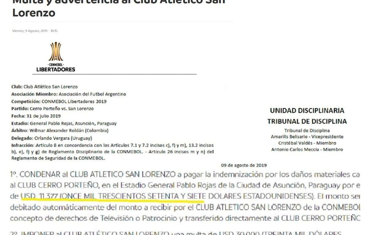 sancion conmebol san lorenzo
